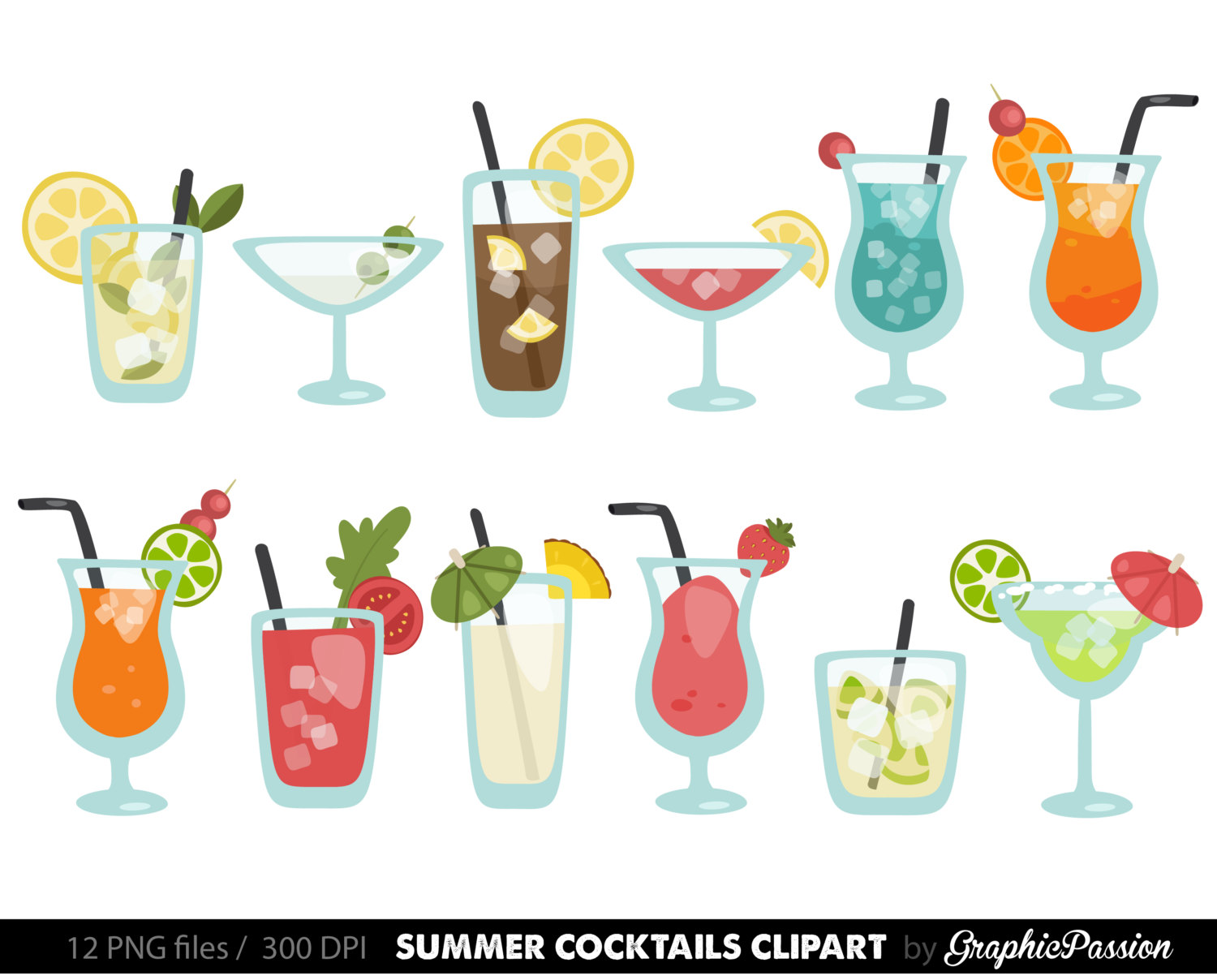 Beverage clipart summer drink Drinks Drink clipart Cocktail Etsy