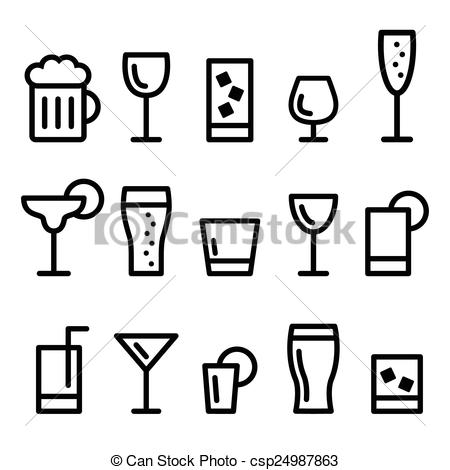 Alcohol clipart black and white Alcohol line icons of Art