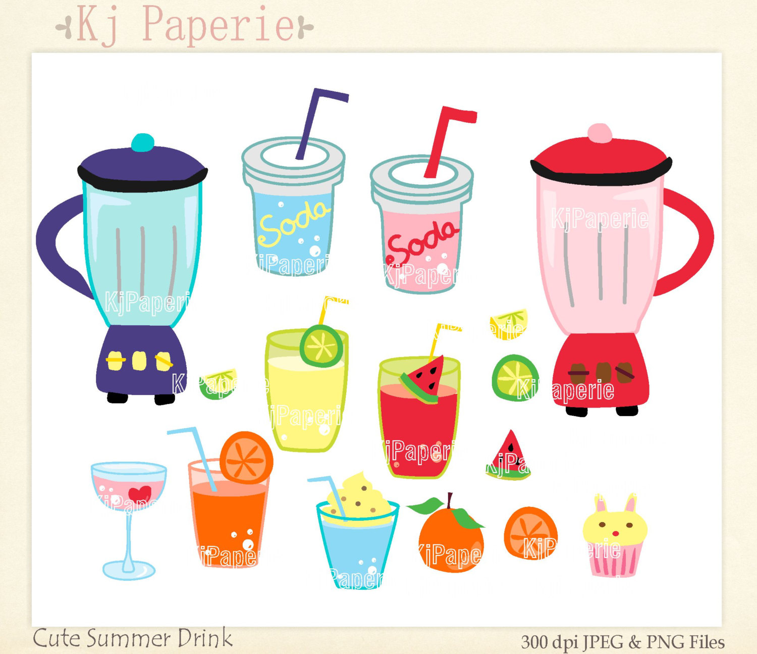 Drink clipart cute Drink scrapbooking Summer art