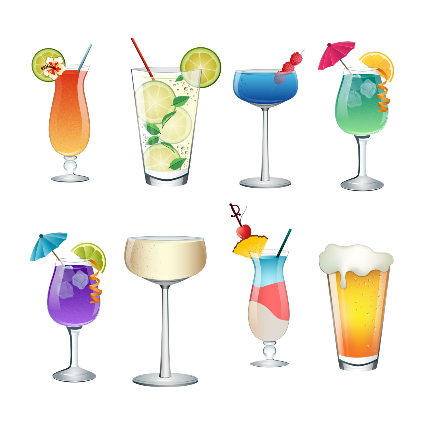 Drink clipart cute Of PNG Set Colorful Vector