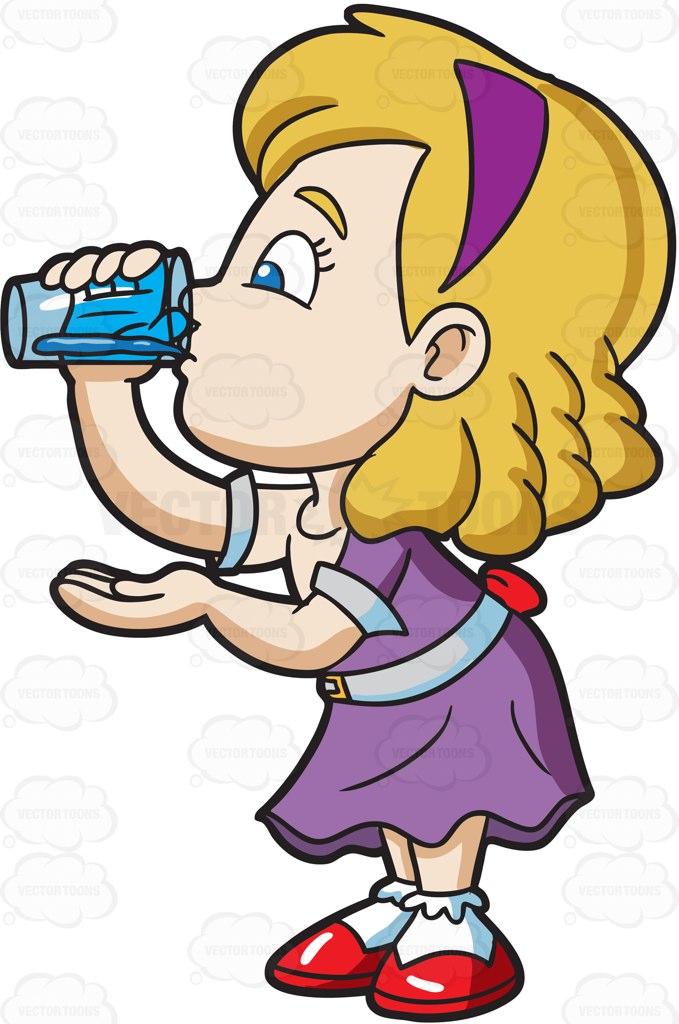 Drink clipart cute cartoon Drinks Of A Glass Girl