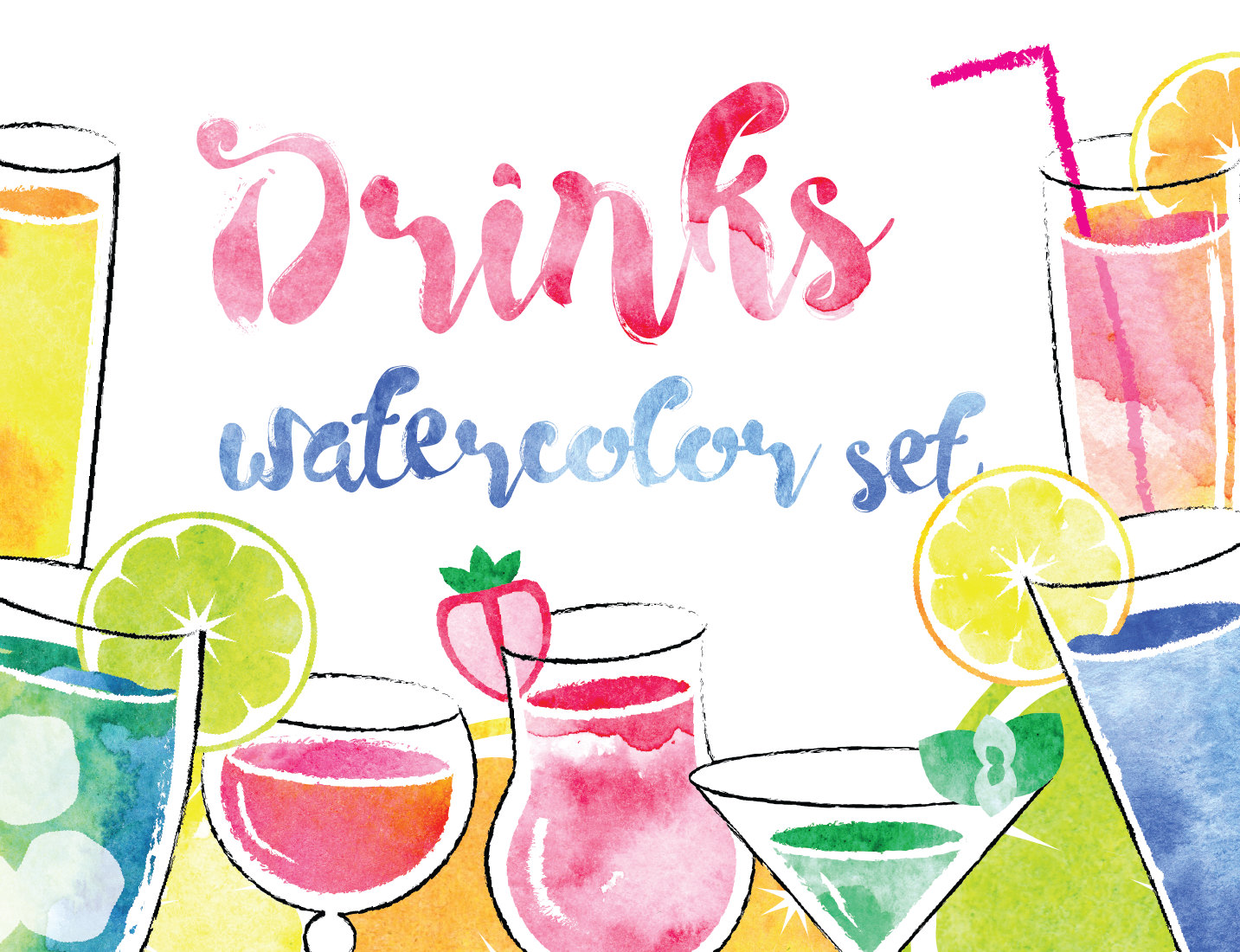 Bar clipart holiday cocktail Cocktail Watercolor art clip clipart