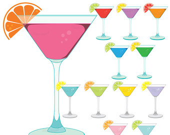 Beverage clipart party drink Drinks party glasses art digital