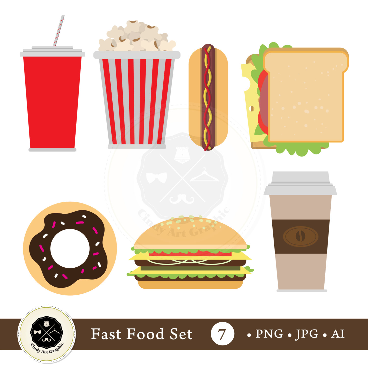Drink clipart fast food Fast Set food clipart