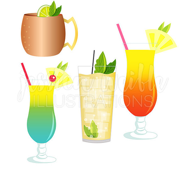 Drink clipart happy hour Favorite Hurricane Digital Mixed Drinks