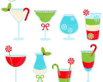 Alcohol clipart holiday cocktail Drinks holiday Christmas set Clipart