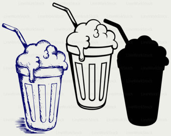 Drink clipart milkshake glass Etsy glass silhouette svg shake