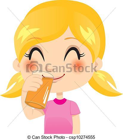 Drink clipart orange juice Healthy Healthy csp10274555 blond little