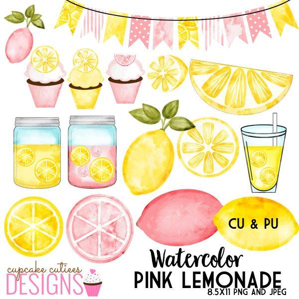 Drink clipart pink lemonade Pink Set Art Lemonade Watercolor