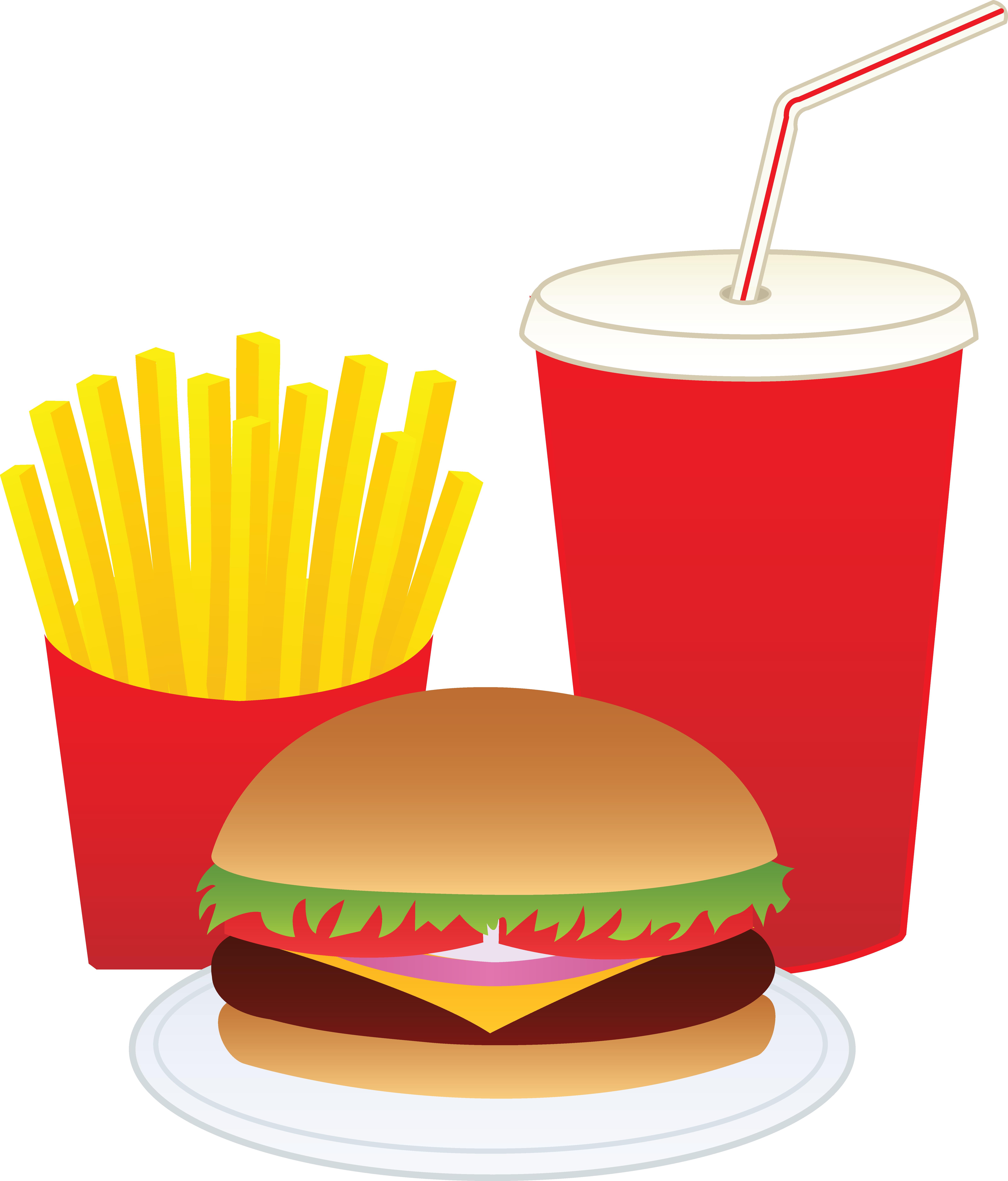 Burger clipart burger and fry Fries Hamburger and Drink Art