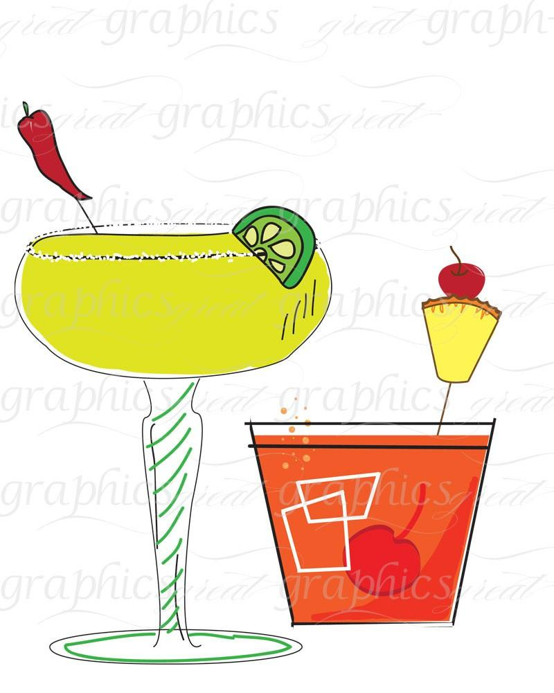 Drink clipart retro cocktail Art Clip Art Clip Digital