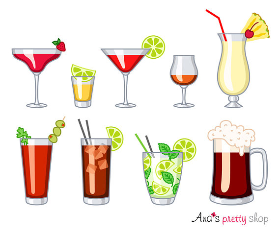 Drink clipart rum Alcohol dark mary beer glasses