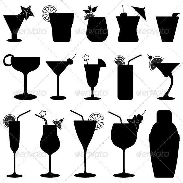 Drink clipart silhouette Fruit Silhouettes Drink Cocktail Drink