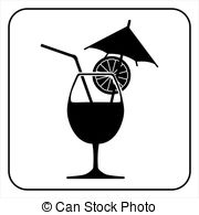 Drink clipart silhouette Cocktail isolated on of Vector