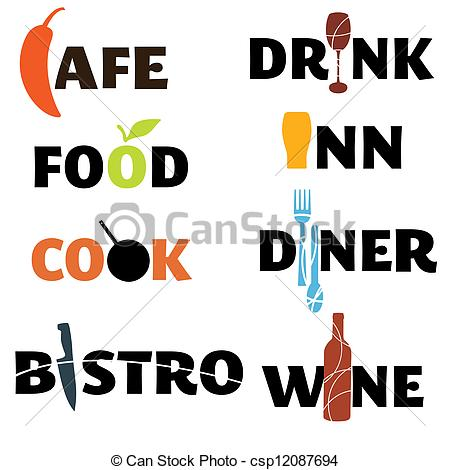 Creative clipart the word Word gr food drink word