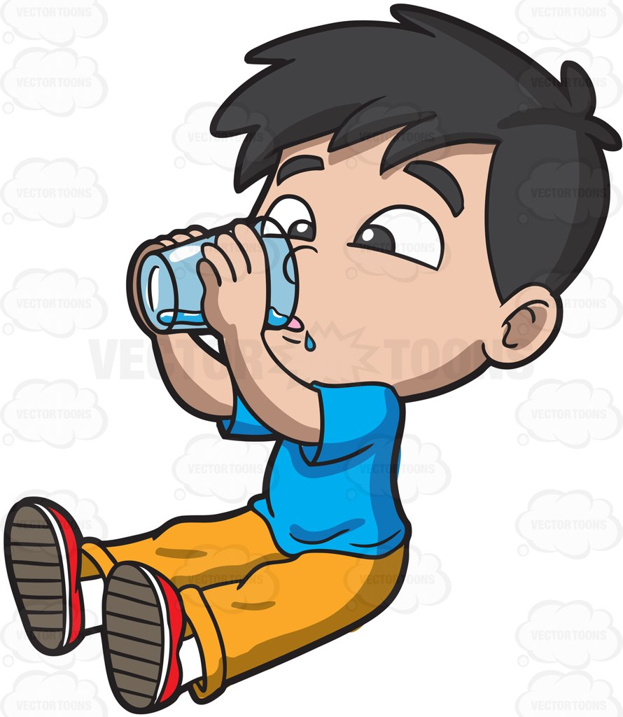 Boy clipart drink water Water Clipart Drinking From Cartoon