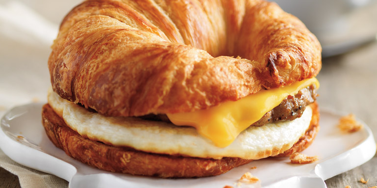 Dunkin Donuts clipart breakfast pastry Sausage croissant Cheese sandwich Breakfast