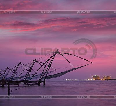 Dusk clipart kerala © Stock Kochi fishnets and