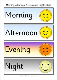 Morning clipart morning afternoon evening Word  afternoon labels night