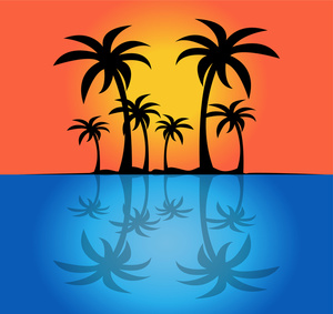 Reflection clipart palm tree sunset #1