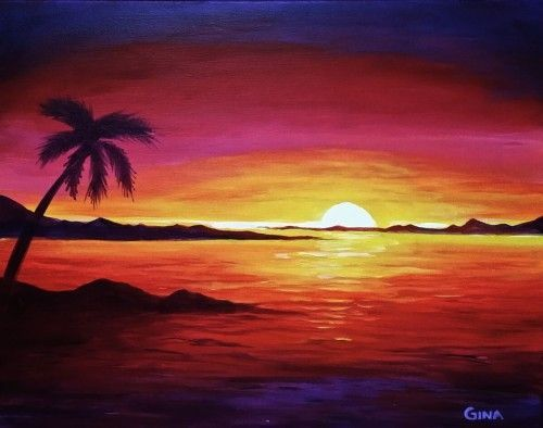 Drawn sunrise palm tree About Paintings Paintings Sunset on
