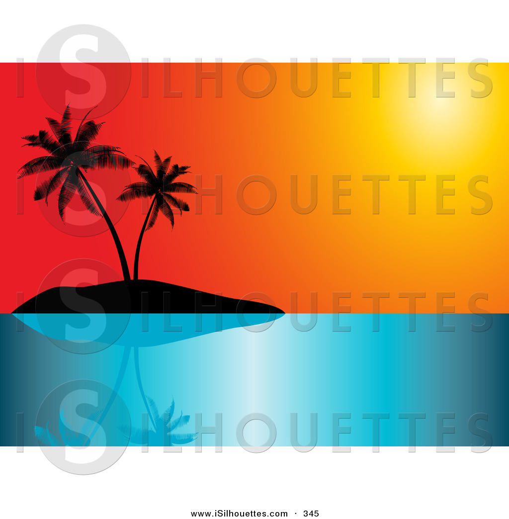 Dusk clipart vacation Tropical a Sky Silhouette Silhouetted