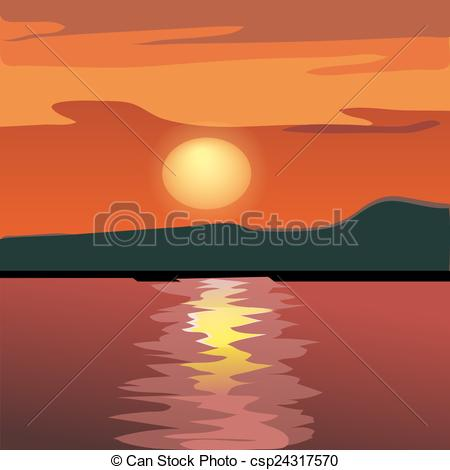 Dusk clipart vector And sea from silhouette the