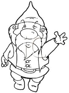 Dwarf clipart black and white Waving a Black Picture Black