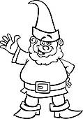 Dwarf clipart black and white Free Royalty gnome Clip Art