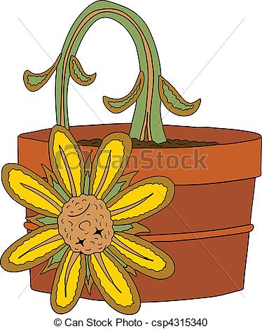 Dying clipart flower Vector illustration of Dead csp4315340