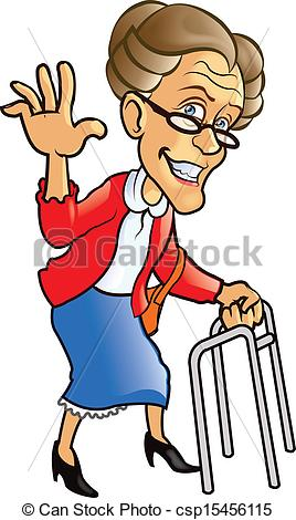 Dying clipart grandmother Search  Vector csp15456115 walking