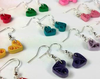 Earrings clipart cartoon Paper Heart Earrings different color