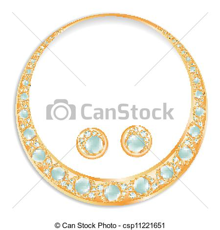 Earrings clipart circle Pearls Clipart of Set Earrings