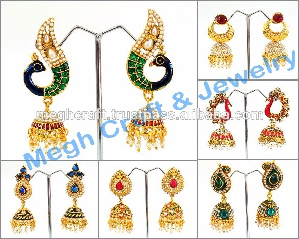 Earrings clipart one Pearl Gold Ethnic Plated wholesale