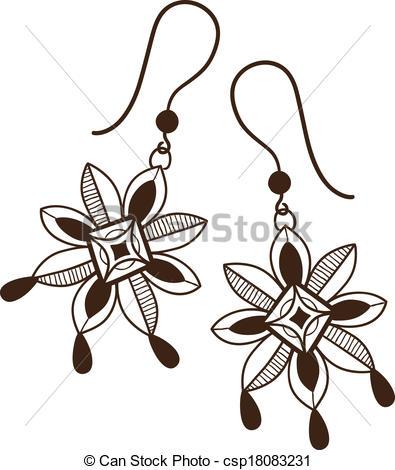 Earrings clipart vector Flowers on Earrings csp18083231 Earrings