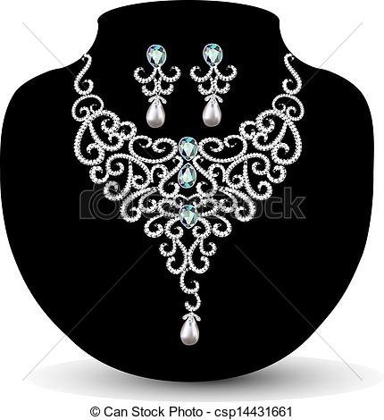 Earrings clipart vector Womens womens Vector diamond necklace