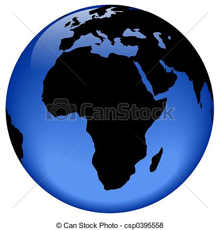 Continent clipart globe 3d view  Stock Africa
