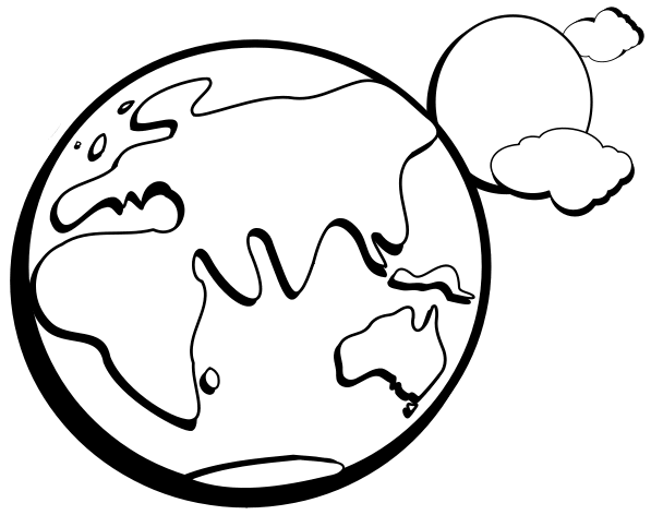 Space clipart black and white Earth Black White Clipart And