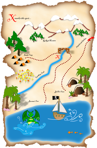 East clipart treasure map  treasure illustrated Google map