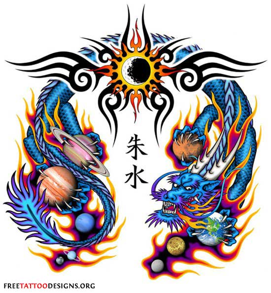 Chinese Dragon clipart medieval dragon Tattoo flames with Designs