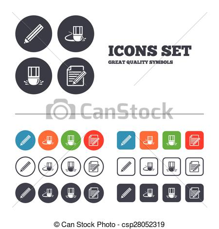Editingsoftware clipart document Circles of Edit document symbol