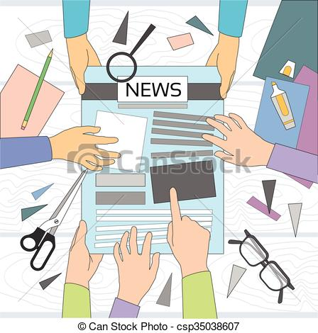 Journalist clipart broadcast journalism Workspace Newspaper Making Team Group