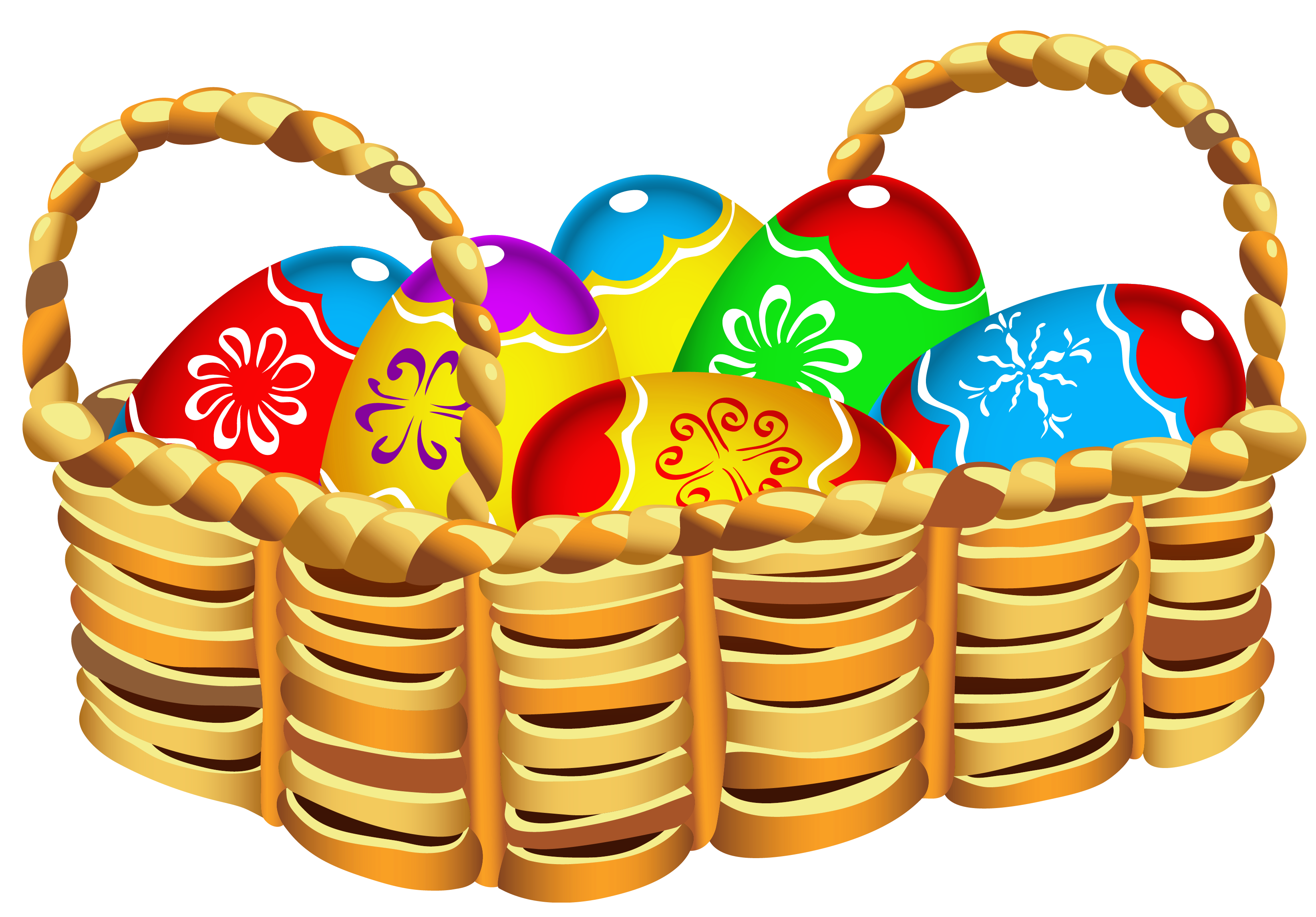 Orange clipart easter eggs Easter Basket Eggs with Square