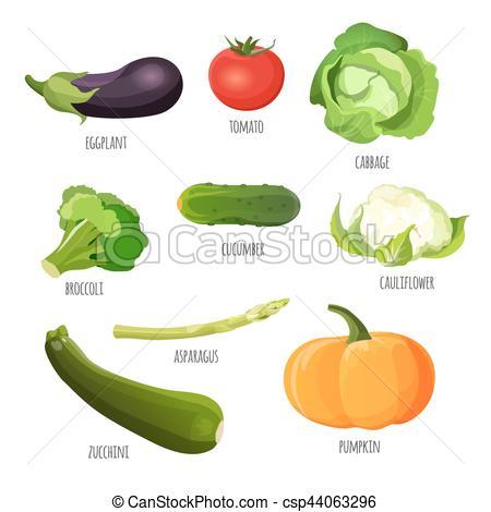Eggplant clipart cauliflower Set of Vegetables cucumber tomato
