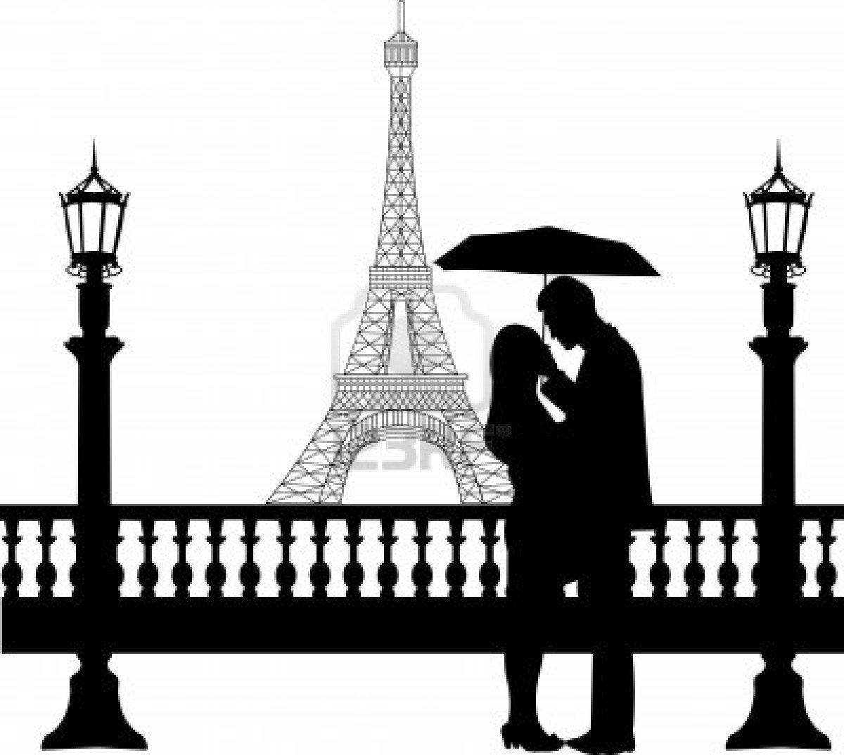 Eiffel Tower clipart simple Vor Eiffelturm der Paar ein