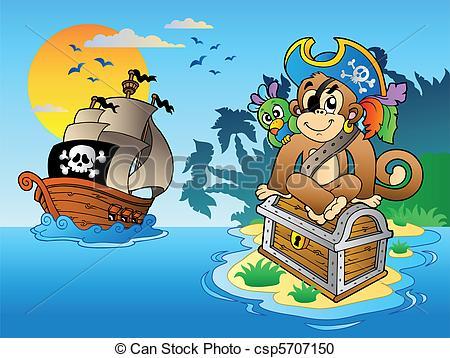 Eiland clipart pirate island Island royalty Clipart monkey vector