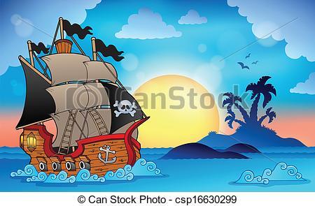 Eiland clipart pirate island Csp16630299 eps10 near near EPS