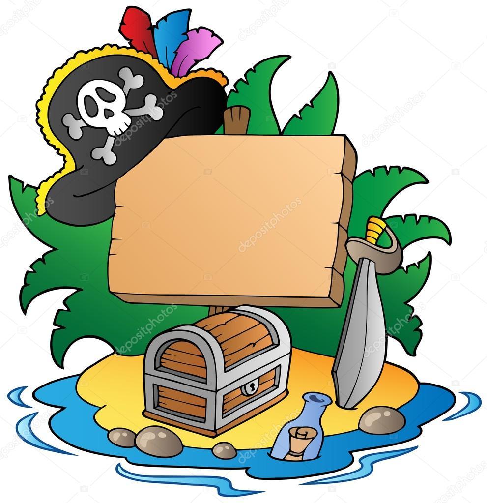Eiland clipart pirate island Vectorillustratie — clairev bestuur bestuur