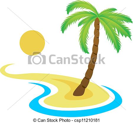 Eiland clipart vector On palm palm Clipart on