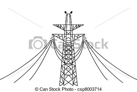 Electrical clipart electric pole Vector background white csp8003714 electric